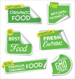 Natural organic products green collection of labels and badges. Natural organic products green set of labels and badges royalty free illustration