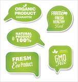 Natural organic products green collection of labels and badges. Natural organic products green set of labels and badges vector illustration