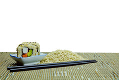 Natural Organic Raw Brown Rice and Vegetarian Avocado Sushi with Clipping Path Stock Images