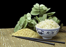 Natural Organic Raw and Cooked Brown Rice With Chopsticks Stock Images