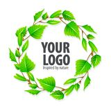 Natural organic sign logo with green leaves Stock Images