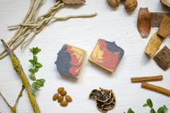 Natural organic soap. Ecological cosmetics. Eco body care Royalty Free Stock Images