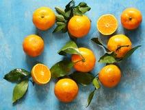Natural organic tangerine. Ripe orange  mandarins. Royalty Free Stock Photos