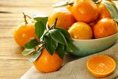 Natural organic tangerine. Ripe orange  mandarins. Royalty Free Stock Photography