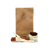 Natural organic tea. In a beige paper bag Royalty Free Stock Photography