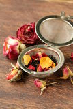 Natural organic tea from dry roses Stock Photos