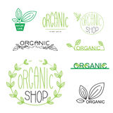 Natural, organic, vegan badges and logo design. Vector set of natural, organic, vegan badges and logo design templates in trendy linear and flat style Royalty Free Stock Photography