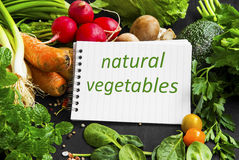 Natural organic vegetables frame with note, carrots, parsley, mi Stock Images