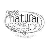Natural Orgnic Shop Black And White Promo Sign Design Template With Calligraphic Text And Floral Frame Stock Photo