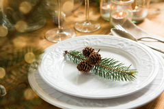 Natural ornaments for Christmas table setting. Natural fir and cones ornament for Christmas table setting. Bokeh effect royalty free stock photography