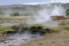 Natural outdoor thermal pool in Geyser Stock Image
