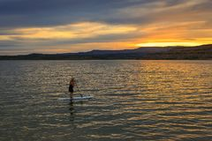 Outdoor woman on a stand up paddleboard in a lake at sunset, Utah, USA. Natural outdoors middle aged woman on a stand up paddle board, Utah, USA Royalty Free Stock Photo