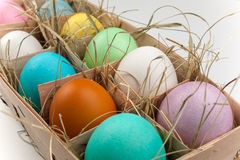 Natural pack of ten colored eggs  on white Royalty Free Stock Photography