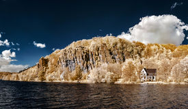 Natural panoramic infrared landscape of Messe river Stock Photos
