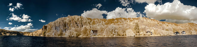 Natural panoramic infrared landscape of Messe river Royalty Free Stock Photography