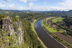 Natural Park Bastei. Elbe. Saxony. Germany. Natural Park Bastei, Saxony, Germany - 7 september, 2015: Complex sandy cliffs, towering above the surface. Between Stock Image