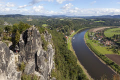 Natural Park Bastei. Elbe. Saxony. Germany. Natural Park Bastei, Saxony, Germany - 7 september, 2015: Complex sandy cliffs, towering above the surface. Between Royalty Free Stock Image