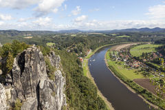 Natural Park Bastei. Elbe. Saxony. Germany. Natural Park Bastei, Saxony, Germany - 7 september, 2015: Complex sandy cliffs, towering above the surface. Between Royalty Free Stock Images