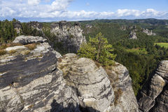 Natural Park Bastei. Saxony. Germany. Natural Park Bastei, Saxony, Germany - 7 september, 2015: Complex sandy cliffs, towering above the surface. Between the Royalty Free Stock Images