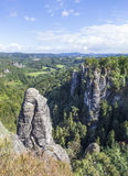 Natural Park Bastei. Saxony. Germany. Natural Park Bastei, Saxony, Germany - 7 september, 2015: Complex sandy cliffs, towering above the surface. Between the Royalty Free Stock Photo