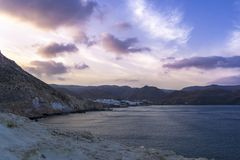 Natural park of Cabo de Gata, Almeria, Spain in Blue hour Stock Images