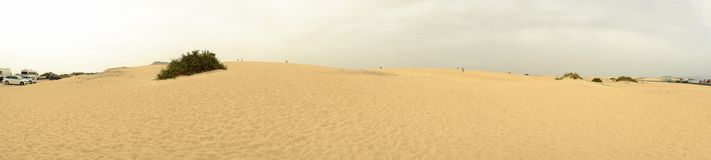 Natural Park of Corralejo on Fuerteventura. Natural park of Corralejo on the Canary Island Fuerteventura, Spain. Sand dunes, panorama Royalty Free Stock Photography