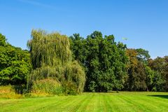 Natural Park in Graz. Landscape view of natural park with path way, meadow area and green big trees among small hills and forest on bright blue sky background Royalty Free Stock Photography