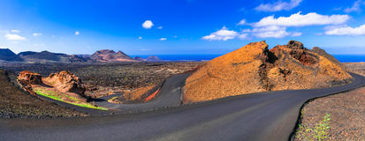Natural park of Lanzarote- Timanfaya with unique volcanic format Royalty Free Stock Photo