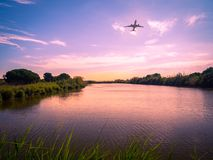 Natural Park of the LLobregat delta. In the background an airplane taking royalty free stock photography