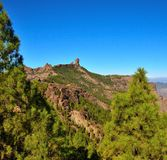 Natural park Roque Nublo with blue sky background, Gran canaria, Canary islands. Landscapes from the summit of Gran canaria Royalty Free Stock Images