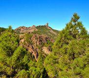 Natural park Roque Nublo with blue sky background, Gran canaria, Canary islands. Landscapes from the summit of Gran canaria Stock Image