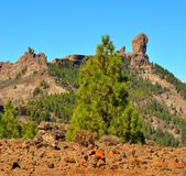 Natural park Roque Nublo with blue sky background, Gran canaria, Canary islands. Landscapes from the summit of Gran canaria Stock Photo