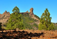 Natural park Roque Nublo, Gran canaria, Canary islands. Landscapes from the summit of Gran canaria Royalty Free Stock Photo