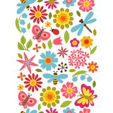 Natural pattern with beautiful flowers, beetles Stock Photos