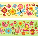 Natural pattern with beautiful flowers, beetles Stock Photography