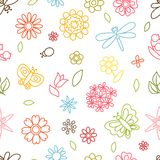 Natural pattern with beautiful flowers, beetles Royalty Free Stock Image