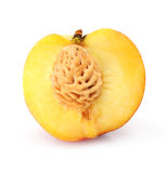 Natural peach fruit cut isolated on white Stock Photos