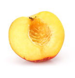 Natural peach fruit cut isolated on white royalty free stock photos