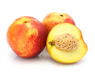 Natural peach fruits isolated on white royalty free stock photo