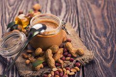Natural peanut butter Stock Images