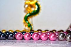 Natural pearl necklace Beautiful and expensive as jewelry for ladies. Natural pearl necklace, freshwater pearl stock images