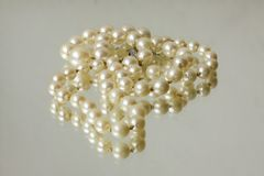 Natural pearl necklace close up on white mirror background Royalty Free Stock Images