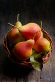 Natural pears in the basket Royalty Free Stock Image