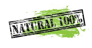 Natural 100 percent black and green stamp on white background. Natural 100 percent black and green stamp stock illustration