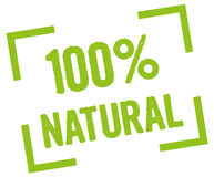 100% Natural. Percent organic stamp in green Royalty Free Stock Photography