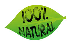 100% Natural. 100 percent natural tag in a green leaf Royalty Free Stock Photo