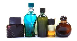 Natural perfume bottles Stock Photos