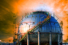 Natural petrochemical gas storage tank in heavy petroleum indust Royalty Free Stock Images