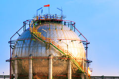Natural petrochemical gas storage tank in heavy petroleum indust Stock Photo