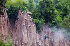 Earth pyramids in Renon, South Tyrol, Italy. Natural phenomen of earth pyramids created by erosion in Renon, South Tyrol, Italy royalty free stock photos